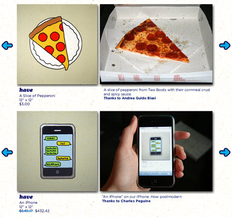 Paintings of pizza and an iPhone