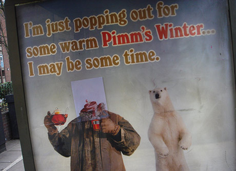 Winter pimms ad, minus the guys head