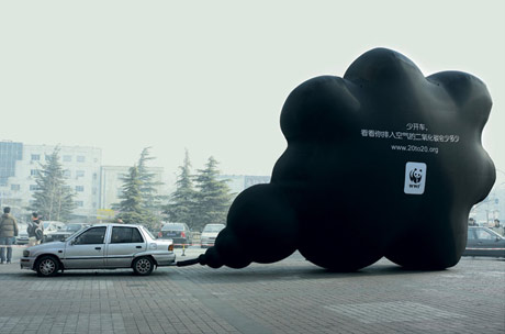 Picture of WWF's black cloud ad
