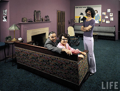 Frank Zappa at home with his mum and dad