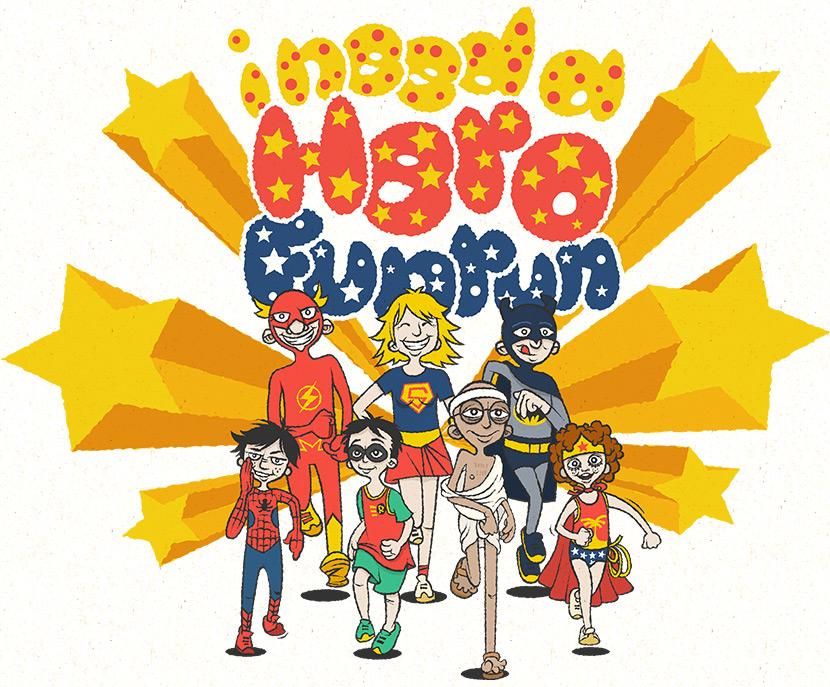 cartoon Fun Runners dressed as superheros