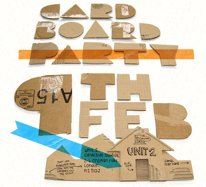cardboard party flyer