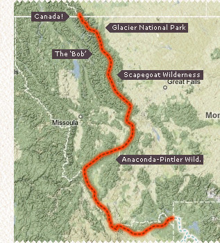 Little map of the Montana CDT section