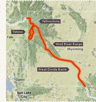 Little map of the Wyoming CDT section