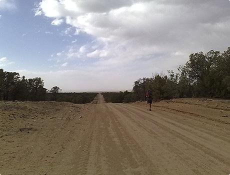 Dusty road walking