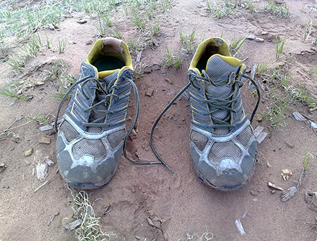 Worn out trail shoes