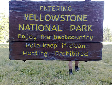 Entering Yellowstone National Park sign