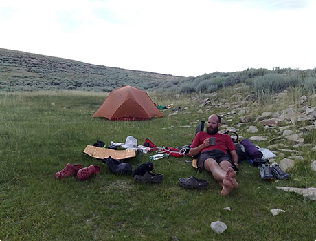 Camping on green grass